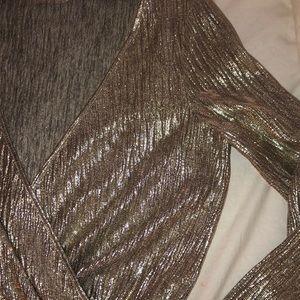 Zara Tops - ZARA Collection GOLD CROP LONG SLEEVE TOP